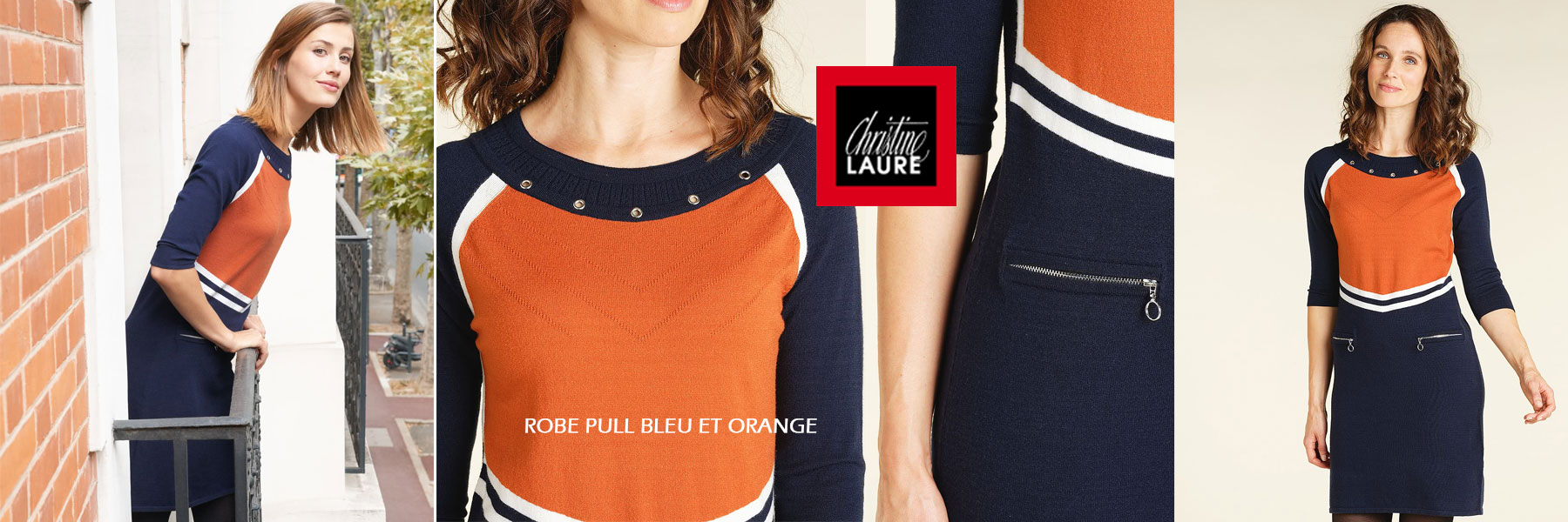 ROBE PULL BLEU ET ORANGE Christine Laure
